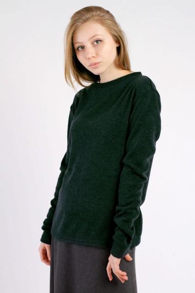 Свитер-лодочка темно-зеленый