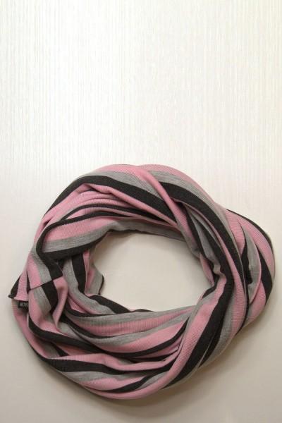 Шарф-снуд черно-серо-розовый в полоску, зимний