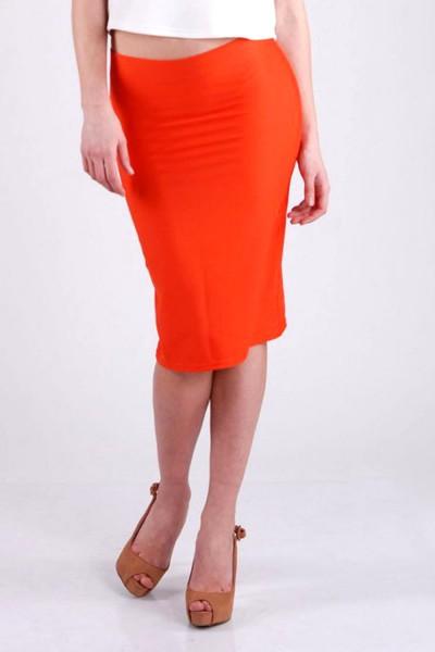 Юбка-карандаш оранжевая