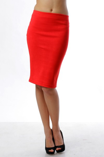 Pencil skirt red