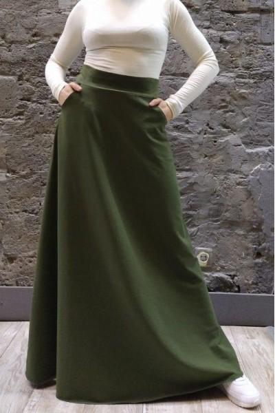 Трикотажная юбка-макси хаки