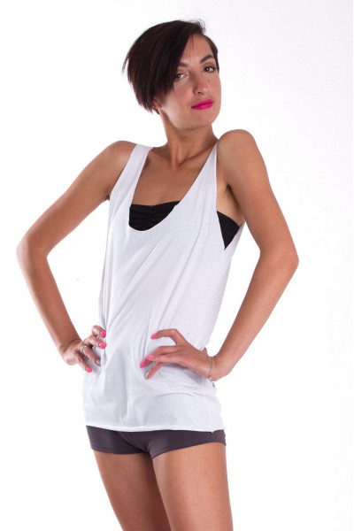 White elongated tank top