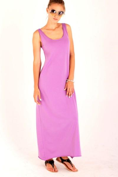 Платье в пол сиреневое