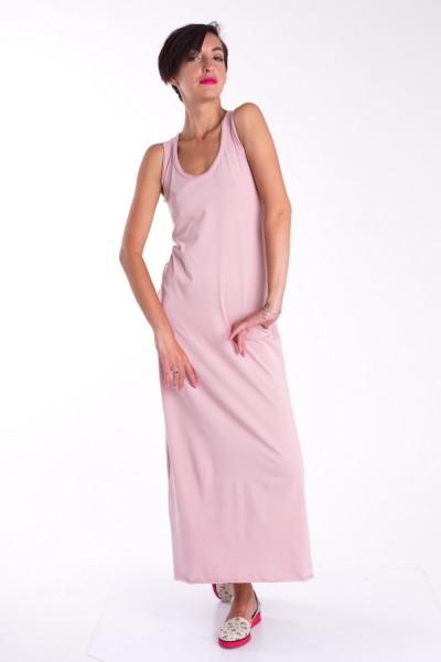 Платье в пол розовое