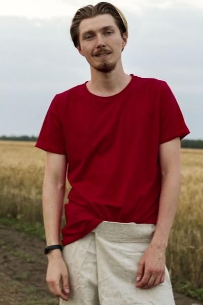 футболка бордовая, мужская