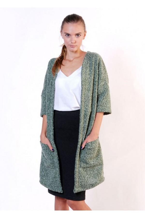 Кардиган с карманами зеленый