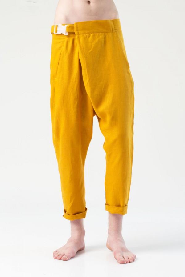 Брюки грави лен, желтые, мужские