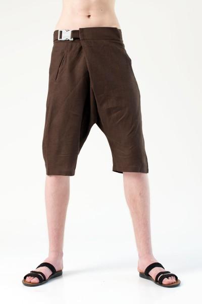 Шорты грави с поясом, коричневые, мужские