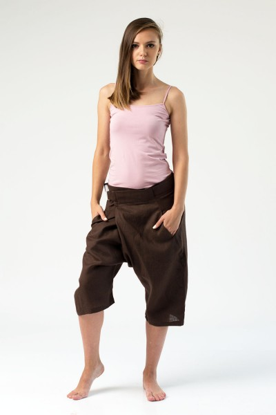Shorts with belt, brown