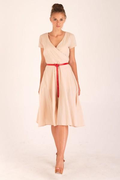 Платье Verao, миди, бежевое
