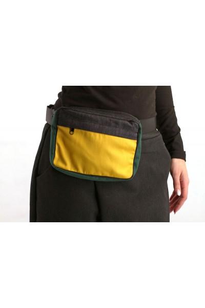 поясная сумка квадрат, желтая