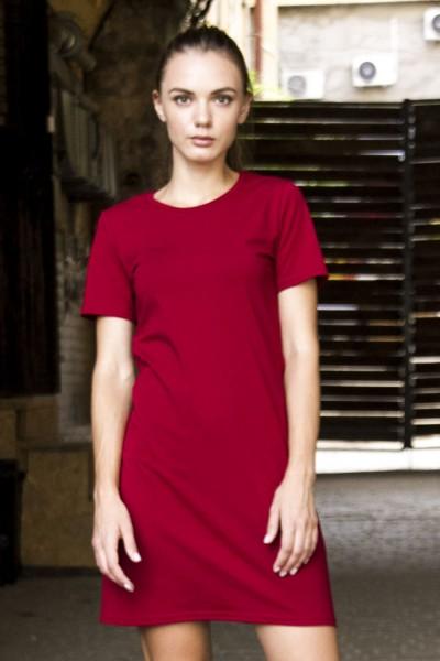 Платье-футболка бордо
