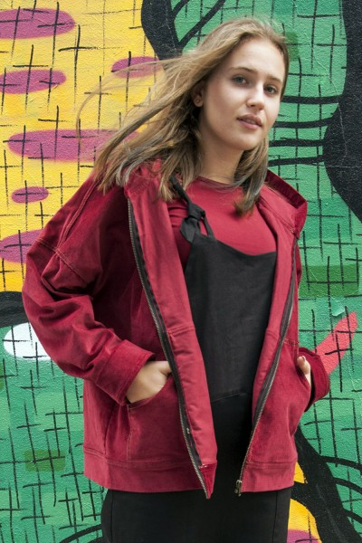 Куртка худи бордовая