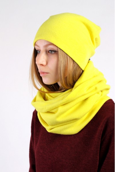 Winter yellow beanie hat