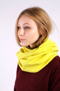 Scarf snood yellow winter
