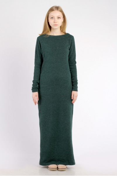 Платье-макси зеленое, демисезон