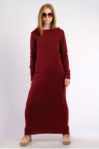 Платье-макси бордо, демисезон