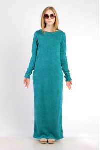 Платье-макси лазурное, демисезон