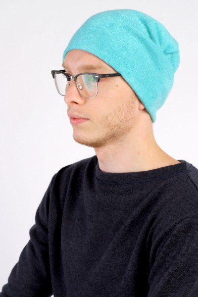 Winter turquoise beanie hat