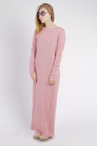 Платье-макси розовое, демисезон