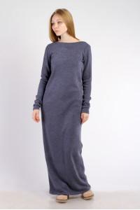 Платье-макси синее, демисезон
