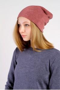 Winter dark pink beanie hat
