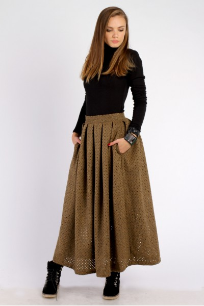 skirt sun maksi  brown