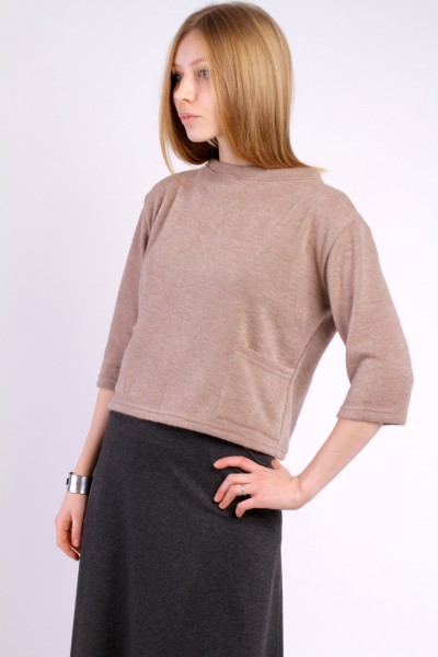 Sweater top with pockets, beige