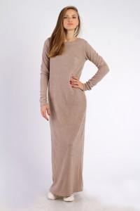Платье-макси бежевое, демисезон