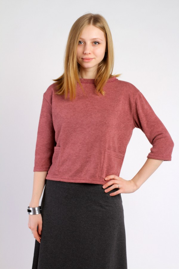 Sweater top with pockets, pink