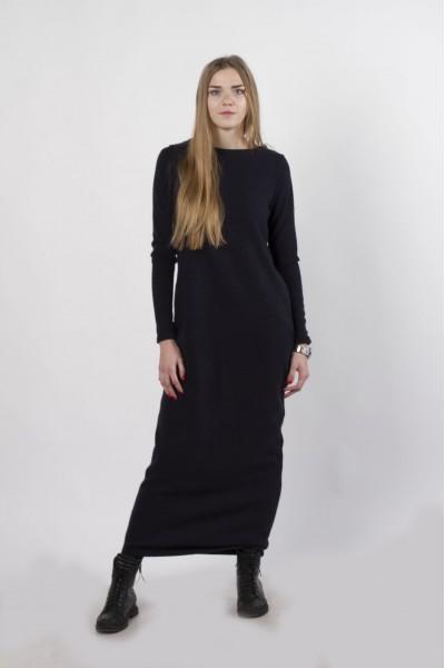 Платье-макси темно-синее, демисезон