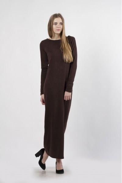 Платье-макси коричневое, демисезон
