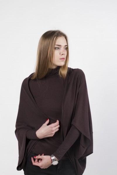 Кардиган-квадрат, коричневый меланж