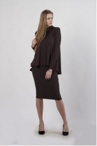"""Комплект """"кофта солнце+юбка"""", коричневый"""