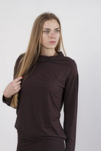 mini throat sweater, brown melange