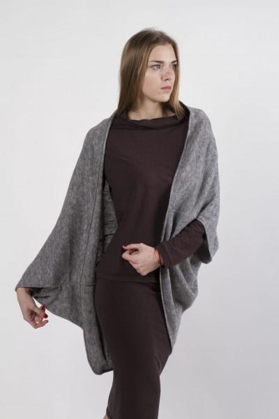 cardigan-square gray melange