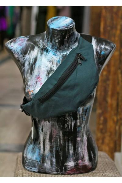 Поясная сумка серо-синяя