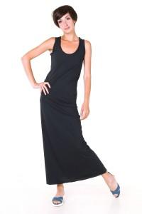 Платье в пол темно-синее