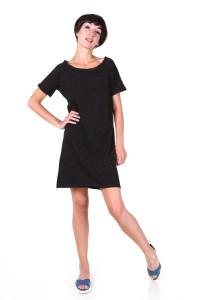 Сукня-футболка чорна в цяточку