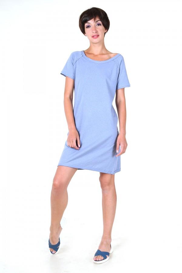Платье-футболка голубое