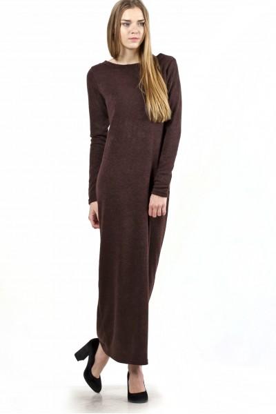 Сукня-максі темно-коричневе, демісезон