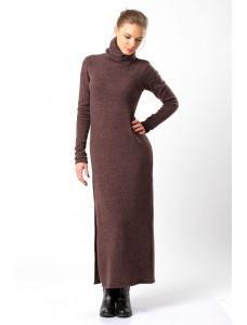 Платье-макси шерстяное, коричневое