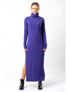 Платье-макси шерстяное, синее