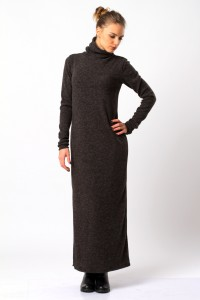 Платье-макси шерстяное, антрацит