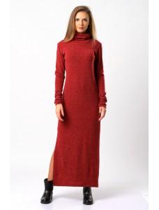 Платье-макси шерстяное, красное