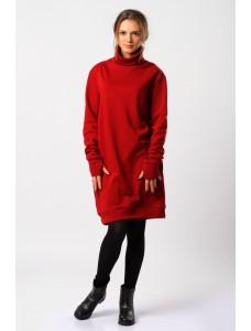 платье абито, красное