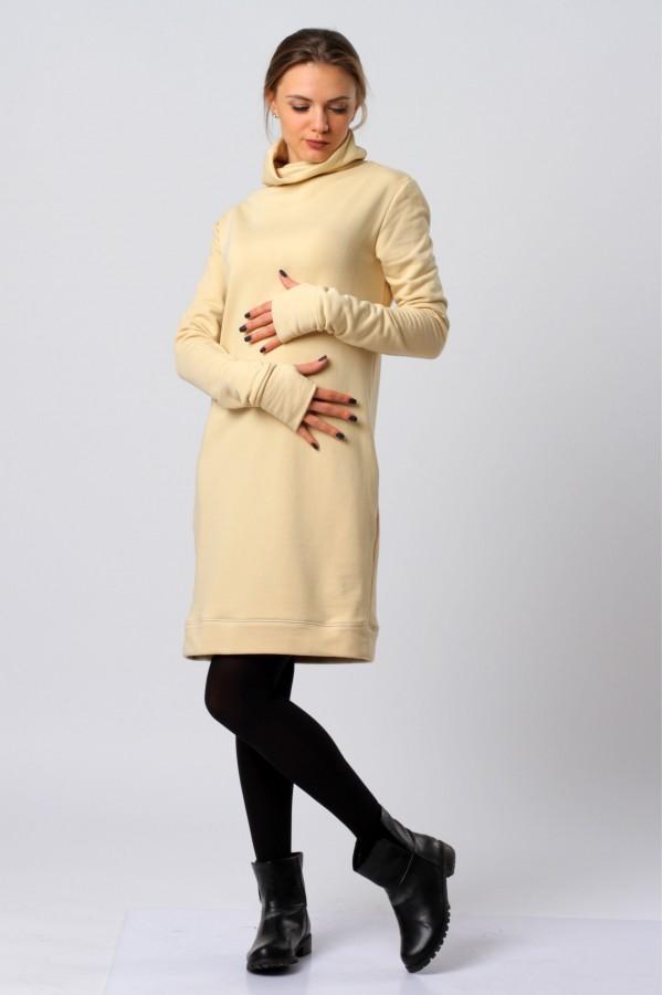 Платье абито, бежевое