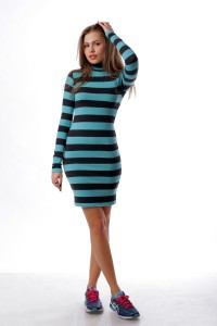 dress Knitted skiny, turquoise