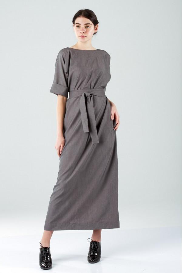 Греческое платье макси серое