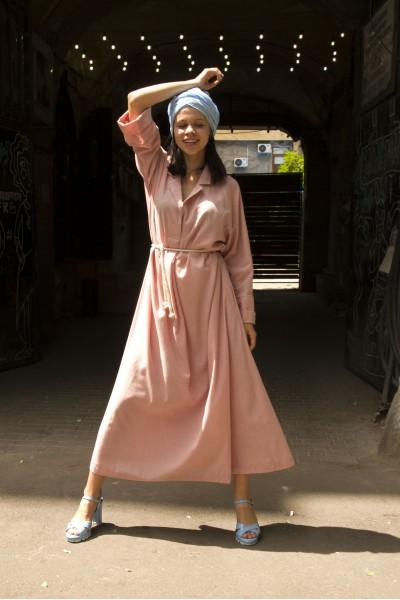 Платье рубашка розовая